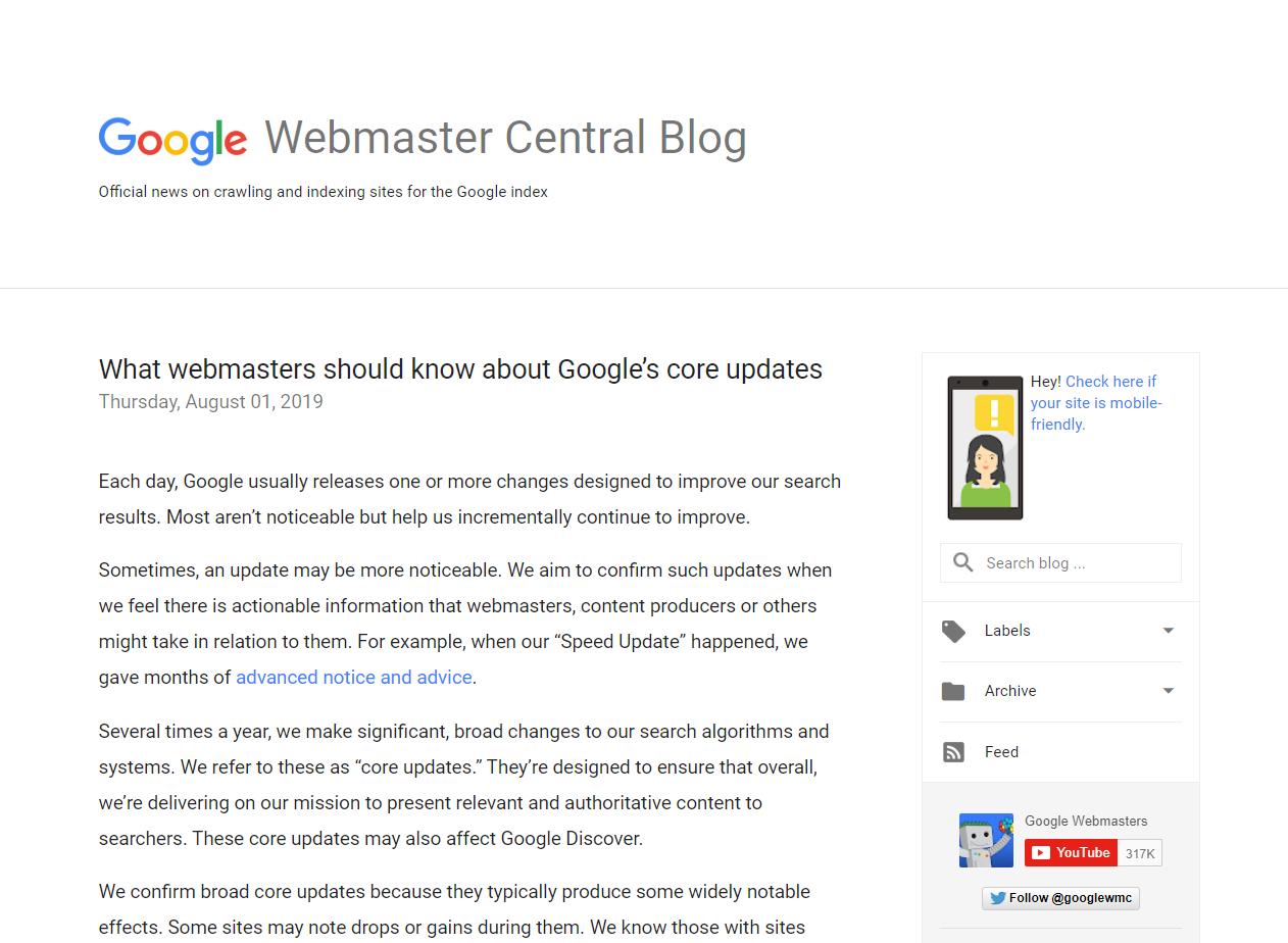 در آگوست 2019، گوگل در بلاگ خود درباره آپدیت هسته اصلی و کم و کیف آن، مقالهای را منتشر کرد.