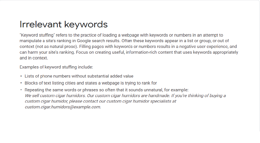 keyword stuffing از نظر گوگل
